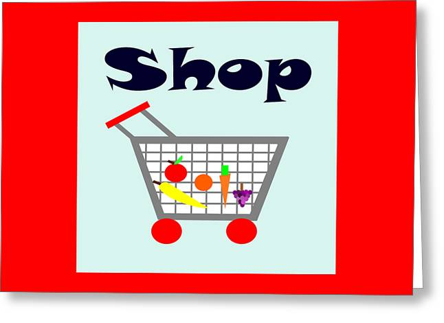 Blue Grapes Greeting Cards - Shopping Cart Greeting Card by Trudy Clementine