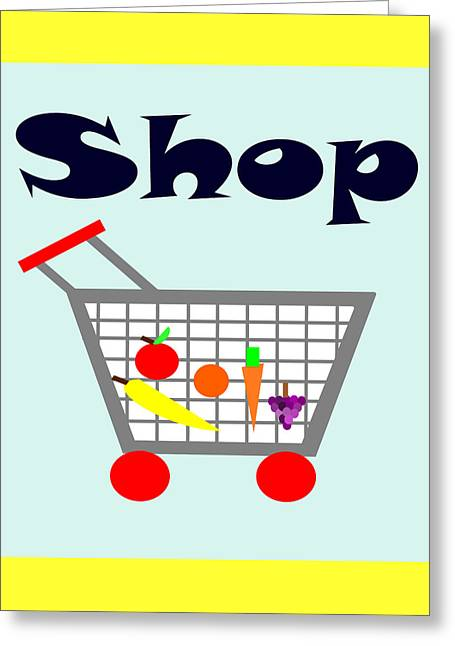 Purchase Greeting Cards - Shopping Cart Greeting Card by Trudy Clementine