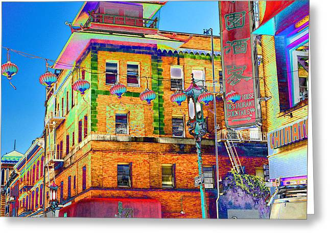 Store Fronts Greeting Cards - Shopping China Town Greeting Card by Tom Kelly