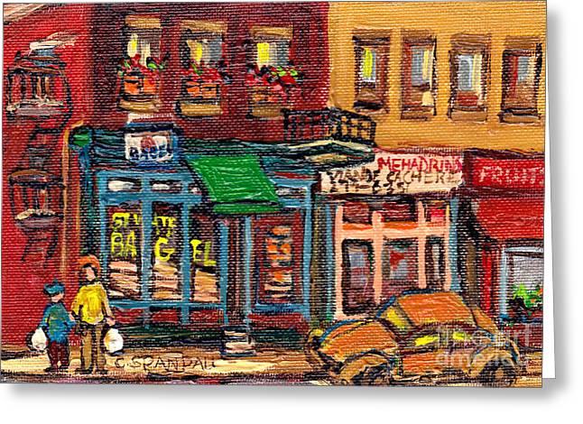 Bagel Shops Greeting Cards - St Viateur Bagel Shop And Mehadrins Kosher Deli Best Original Montreal Jewish Landmark Painting  Greeting Card by Carole Spandau
