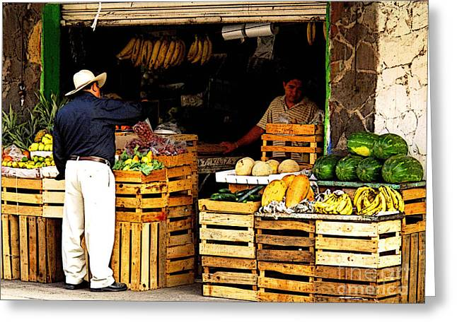 Food Stall Greeting Cards - Shopping for Vegetables Greeting Card by Olden Mexico