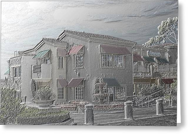 Gray Building Greeting Cards - Shopping Mall Laguna Hills Greeting Card by Arline Wagner
