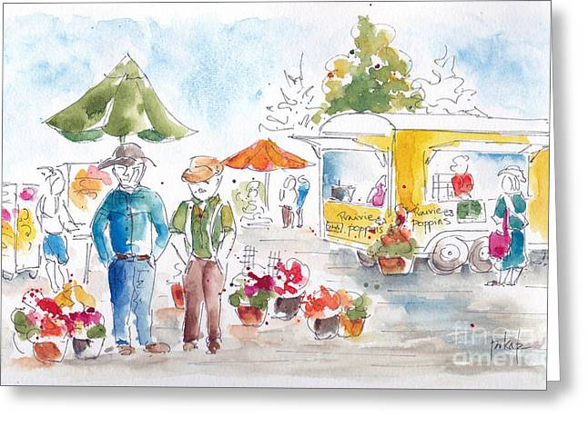 Blue And Green Greeting Cards - Shopping The Market Greeting Card by Pat Katz