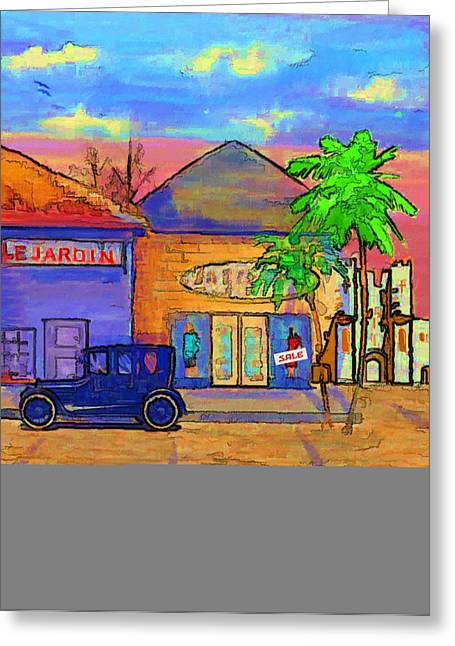 Street Scene Digital Art Greeting Cards - Shopping Trio Greeting Card by Arline Wagner