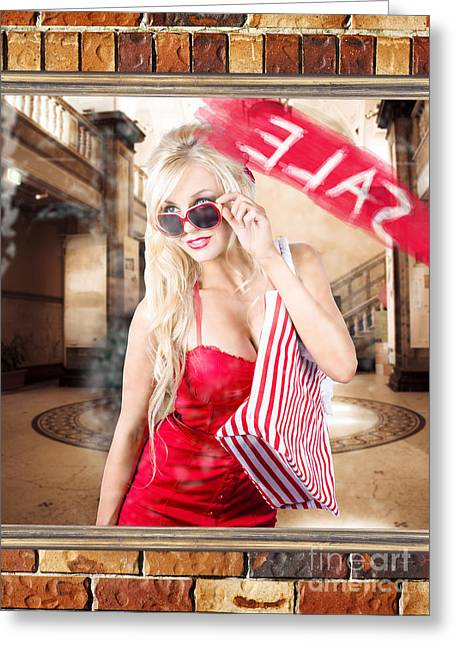 Purchase Greeting Cards - Shopping woman. Clothing and apparel fashion sale Greeting Card by Ryan Jorgensen