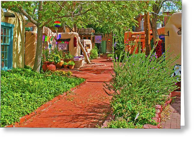 Old Digital Art Greeting Cards - Shops in Old Town Albuquerque Greeting Card by Debbie Morris
