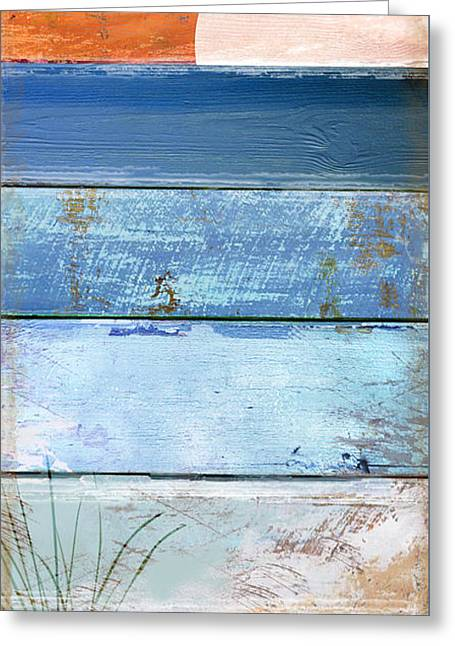 Shore And Sunset Greeting Card by Mindy Sommers