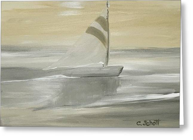 Sailboat Ocean Greeting Cards - Shore Sail Greeting Card by Christina Schott