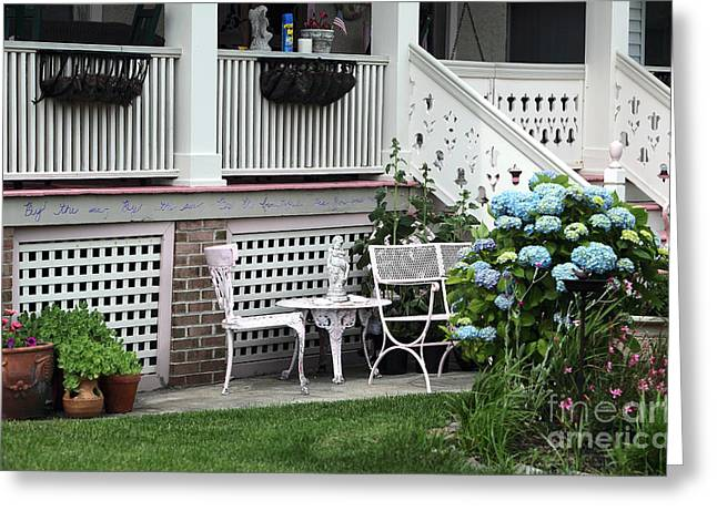Table And Chairs Greeting Cards - Shore Table and Chairs Greeting Card by John Rizzuto
