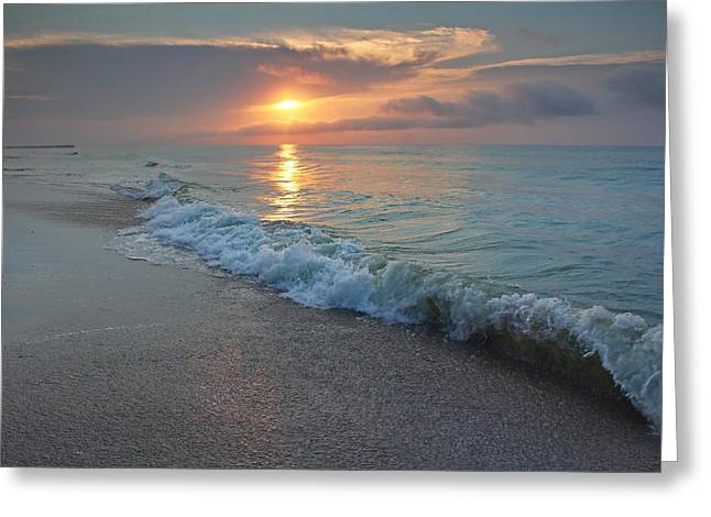 Ocean Art Photos Greeting Cards - Shoreline Sunrise Greeting Card by Brian Hamilton