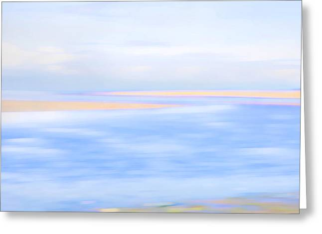 Abstract Beach Landscape Greeting Cards - Shoreline Greeting Card by Theresa Tahara