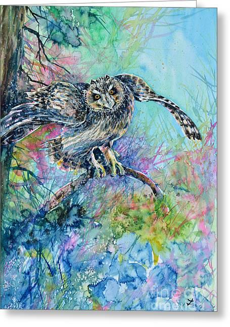 Best Selling Bird Art Greeting Cards - Short-eared Owl Greeting Card by Zaira Dzhaubaeva