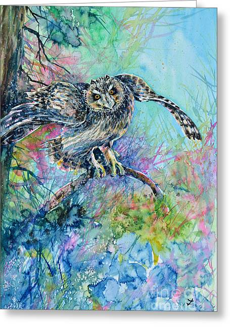 Short-eared Owl Greeting Card by Zaira Dzhaubaeva