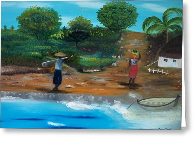 Shortcut By The Beach Greeting Card by Nicole Jean-Louis