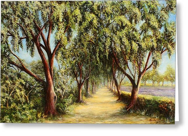 Paradise Road Paintings Greeting Cards - Shortcut to Paradise Greeting Card by Danuta Bennett