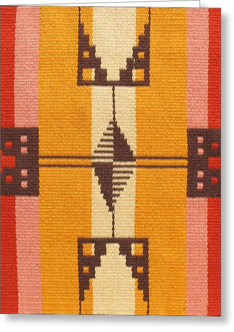 Graphic Tapestries - Textiles Greeting Cards - Shoshone Cross Greeting Card by Judy Hilbish