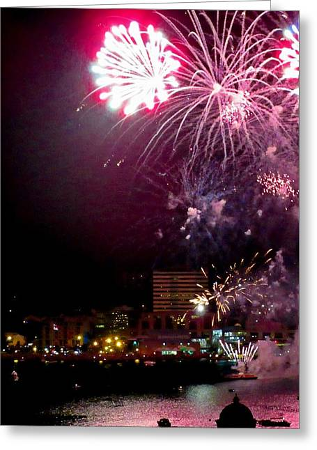 Pyrotechnics Greeting Cards - Shot From Our Balcony Greeting Card by Crystal Loppie
