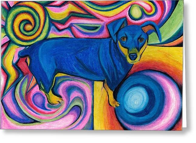 Doggie Pastels Greeting Cards - Shotze Greeting Card by Catilin Ott