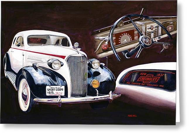 1937 Chevy Greeting Cards - Show And Tell 1937 Greeting Card by Mike Hill