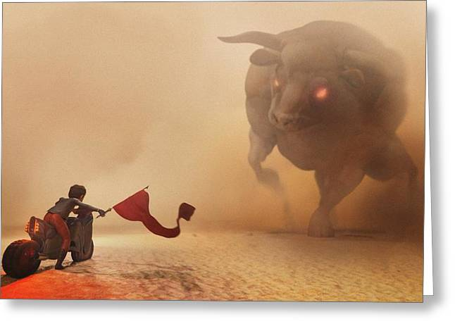 Bulls Digital Art Greeting Cards - Showdown Greeting Card by Jamie Fox