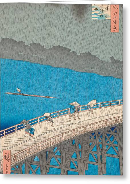 Umbrella Drawings Greeting Cards - Shower Over Ohashi Bridge Greeting Card by Hiroshige