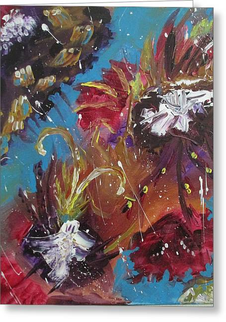 Abstract Rain Greeting Cards - Showers of Flowers Greeting Card by Sharyn Winters