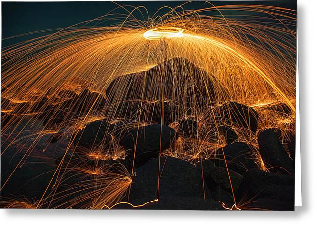 Showers Of Hot Glowing Sparks Greeting Card by Anek Suwannaphoom