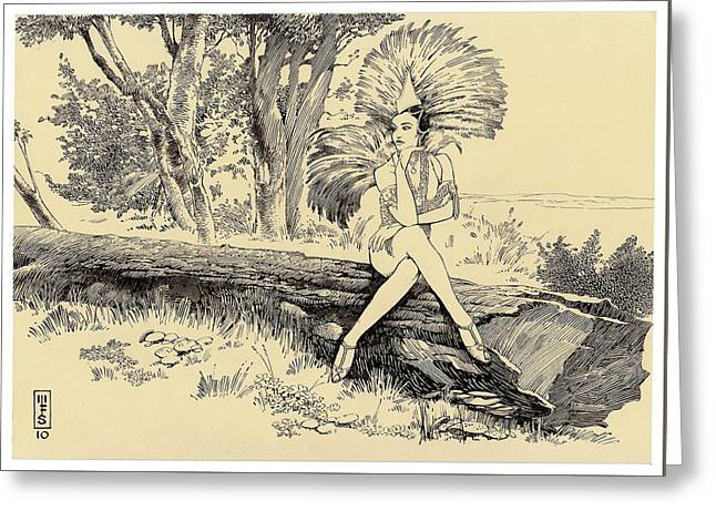 Pen And Ink Drawing Greeting Cards - Showgirl on Holiday Greeting Card by Murray Smoker
