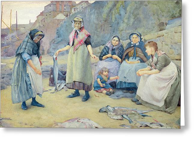 Showing Fish Greeting Card by Thomas Cooper Gotch