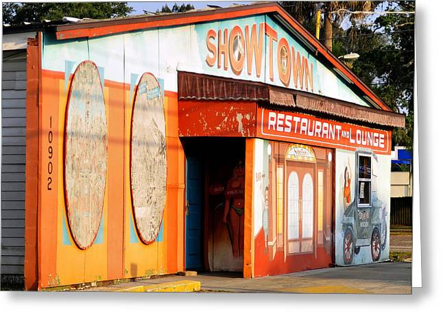 Drive Through Greeting Cards - Showtown Greeting Card by David Lee Thompson