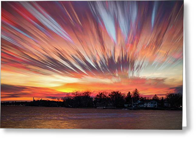 Shredded Sunset Greeting Card by Matt Molloy