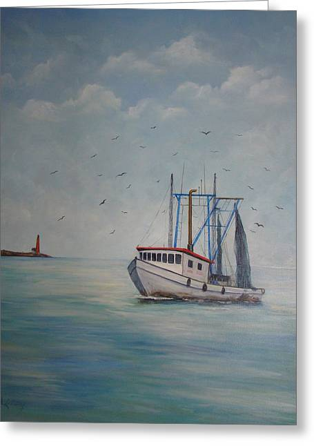 Galveston Greeting Cards - Shrimp Boat Greeting Card by Carolyn Speer