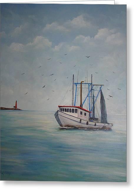 Galveston Paintings Greeting Cards - Shrimp Boat Greeting Card by Carolyn Speer