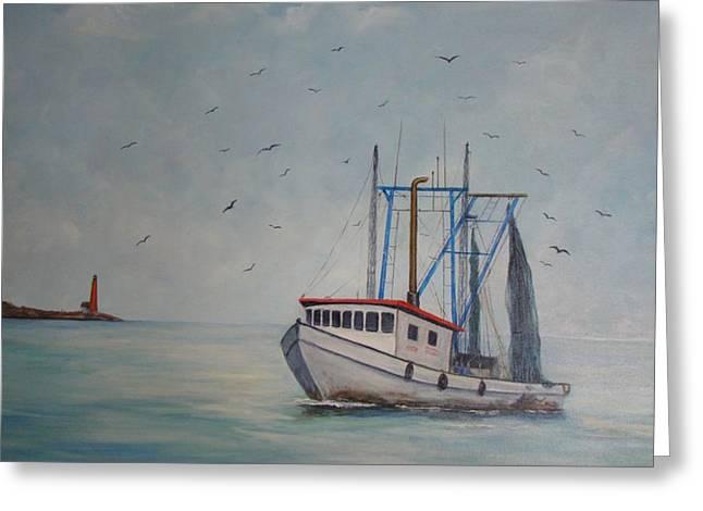 Shrimp Boat Greeting Card by Carolyn Speer