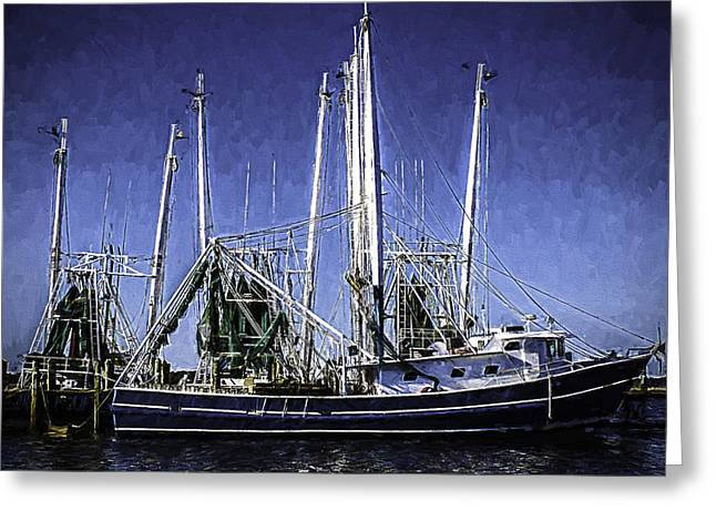 Docked Boats Greeting Cards - Shrimp Boat Docked in Biloxi Greeting Card by Barry Jones