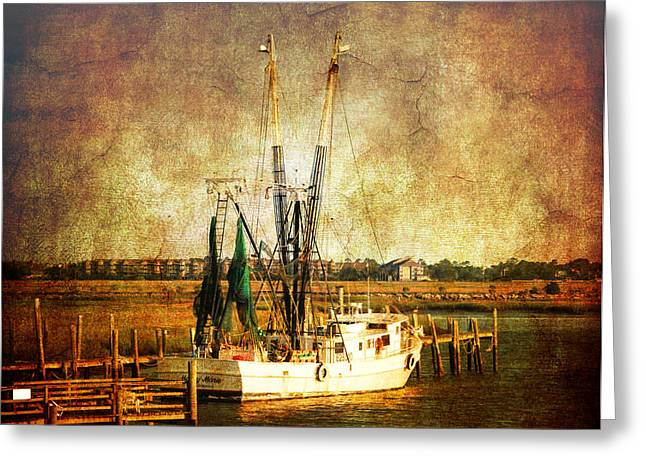 Boats In Water Greeting Cards - Shrimp Boat in Charleston Greeting Card by Susanne Van Hulst