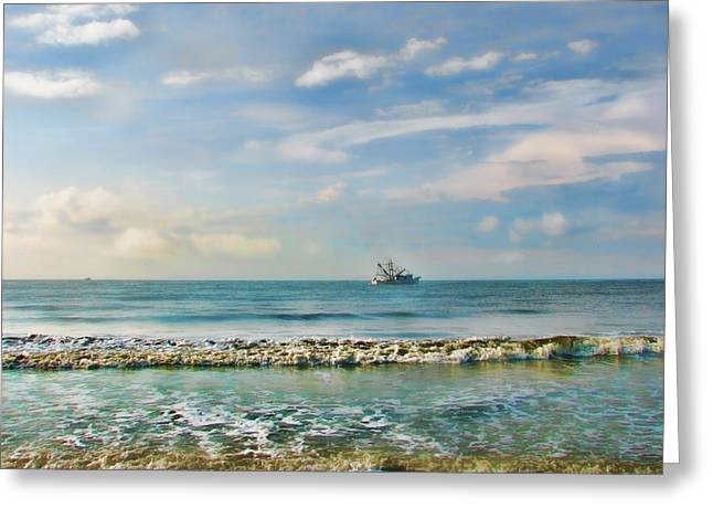 Shrimp Boat Off Kiawah Greeting Card by Amy Tyler