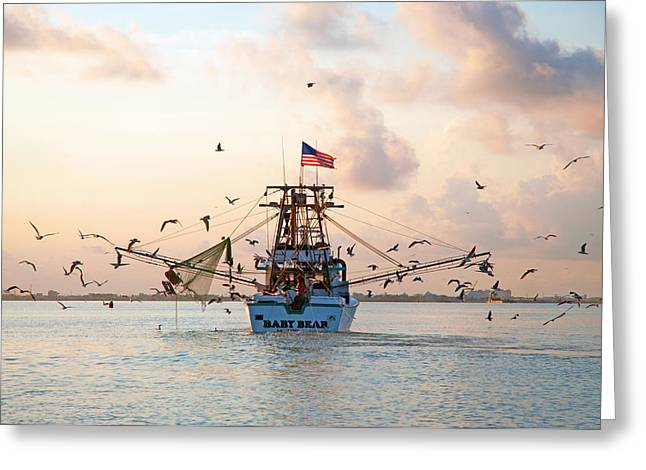 Shrimp Boat Sunrise Greeting Card by Robert Anschutz