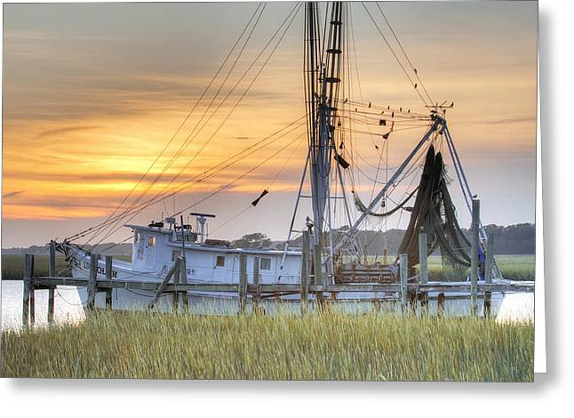 South Carolina Greeting Cards - Shrimp Boat Sunset Charleston SC Greeting Card by Dustin K Ryan