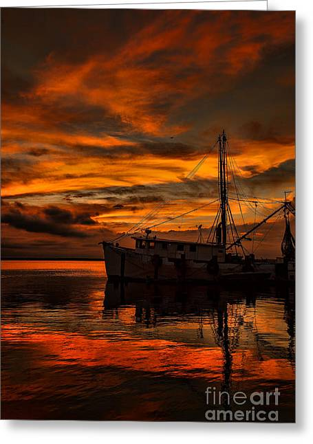 Beach Photos Greeting Cards - Shrimp Boat Sunset Greeting Card by Dave Bosse