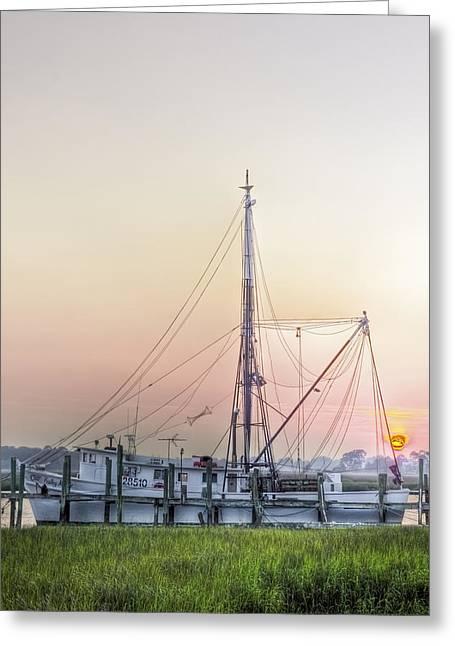 Fishing Creek Greeting Cards - Shrimp Boat Sunset Greeting Card by Drew Castelhano