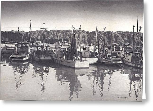 Boats In Harbor Digital Art Greeting Cards - Shrimp Boats Mosquito Fleet Greeting Card by Fred Jinkins