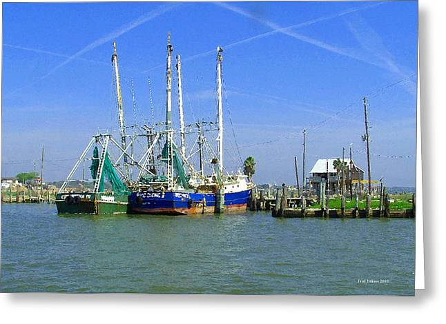 Boats At Dock Greeting Cards - Shrimp Boats Seabrook  Greeting Card by Fred Jinkins