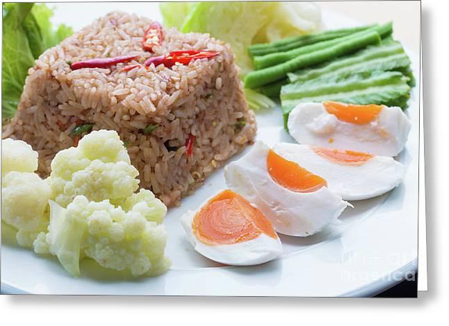 Shrimp Paste Fried Rice Greeting Card by Atiketta Sangasaeng