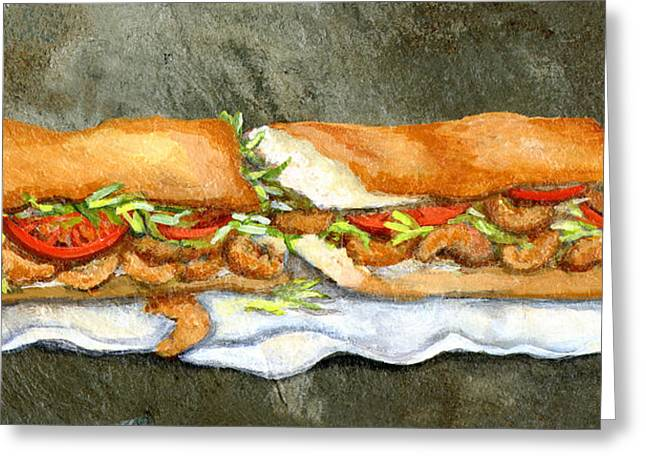 Cajun Greeting Cards - Shrimp Po Boy Greeting Card by Elaine Hodges