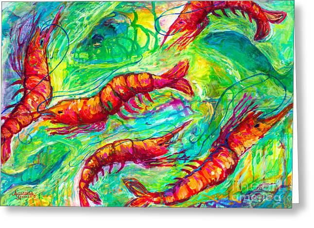Boiled Crawfish Greeting Cards - Shrimp Scramble Greeting Card by Alexandra Nicole Newton