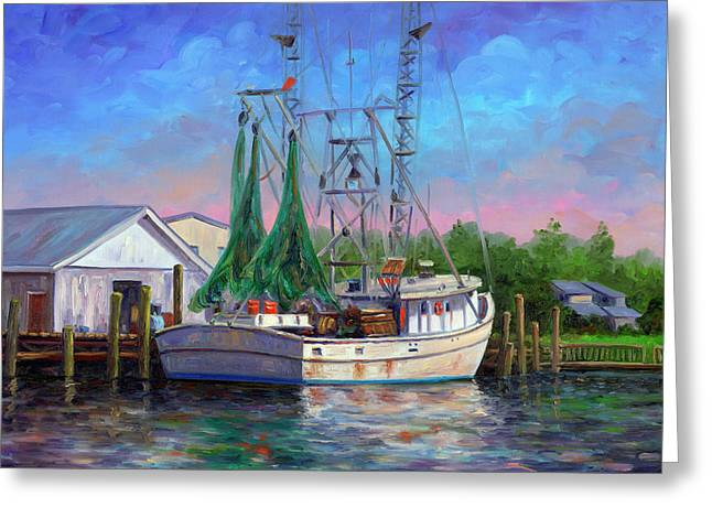 Shrimpers Greeting Cards - Shrimper at Harbor Greeting Card by Jeff Pittman