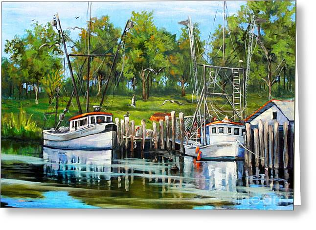 Shrimping Boats Greeting Card by Dianne Parks