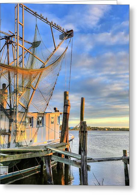 Docked Boats Greeting Cards - Shrimping Bon Secour Greeting Card by JC Findley