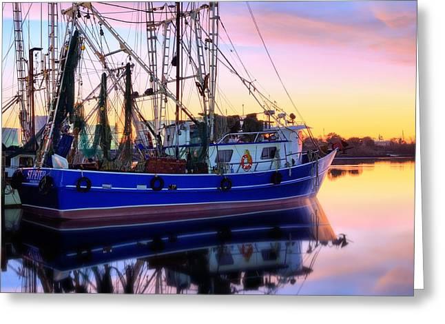 Florida Panhandle Greeting Cards - Shrimping Pensacola Bay Greeting Card by JC Findley
